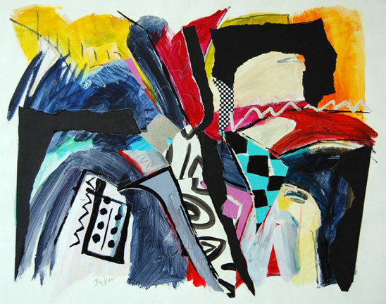 Fast Tango, Acrylic and collage on paper, 41h x 49w, $2800.
